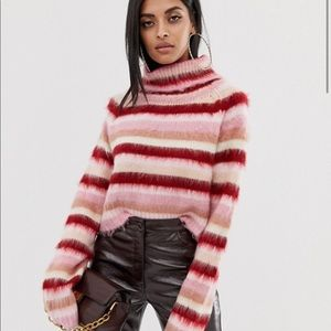 Colorblock roll neck sweater M